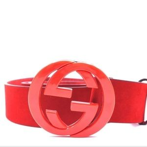 GORGEOUS GUCCI LEATHER BELT RED 95.38